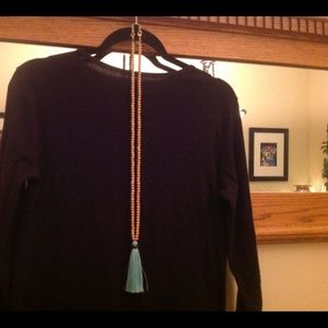 J Crew bamboo and turquoise tassel necklace